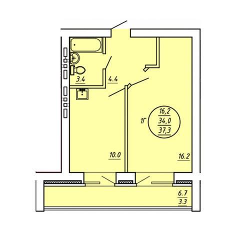 Вариант №3591, 1-комнатная квартира в жилом комплексе