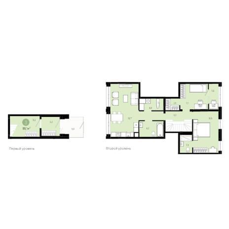 Вариант №6006, 3-комнатная квартира в жилом комплексе