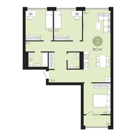 Вариант №3024, 4-комнатная квартира в жилом комплексе