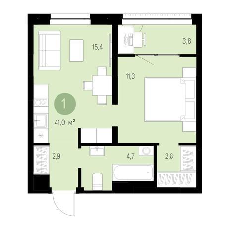 Вариант №4640, 2-комнатная квартира в жилом комплексе Европейский Берег
