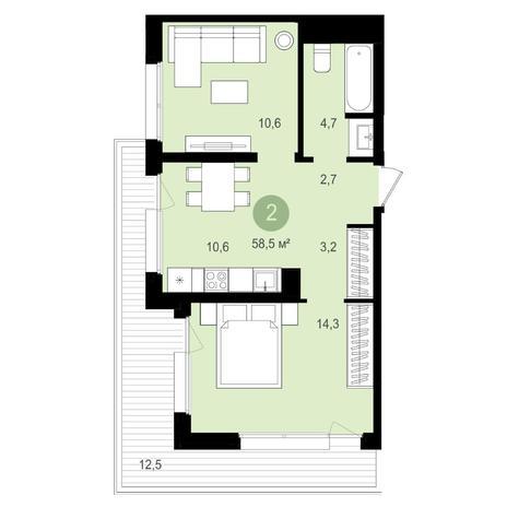 Вариант №4151, 2-комнатная квартира в жилом комплексе Чистая Слобода