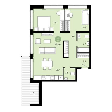Вариант №4267, 3-комнатная квартира в жилом комплексе Пшеница