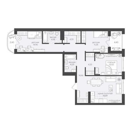 Вариант №6235, 4-комнатная квартира в жилом комплексе