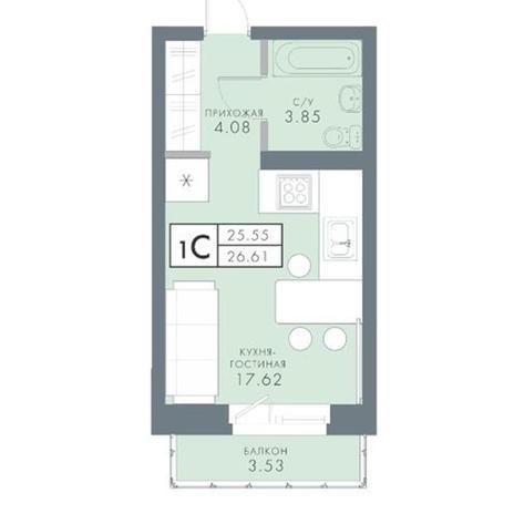 Вариант №2821, 1-комнатная квартира в жилом комплексе Чистая Слобода