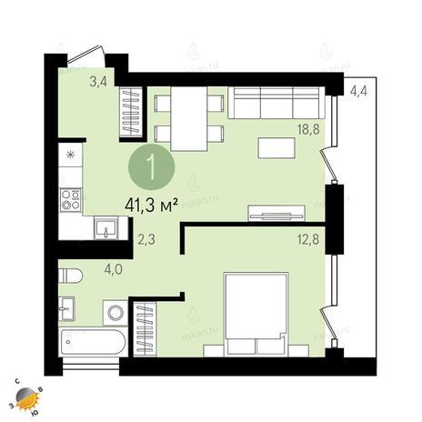 Вариант №2398, 2-комнатная квартира в жилом комплексе Европейский Берег