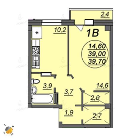 Вариант №2346, 1-комнатная квартира в жилом комплексе Аэропорт