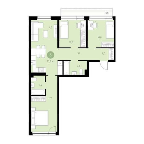 Вариант №4728, 4-комнатная квартира в жилом комплексе Европейский Берег