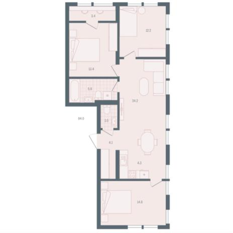 Вариант №5914, 3-комнатная квартира в жилом комплексе