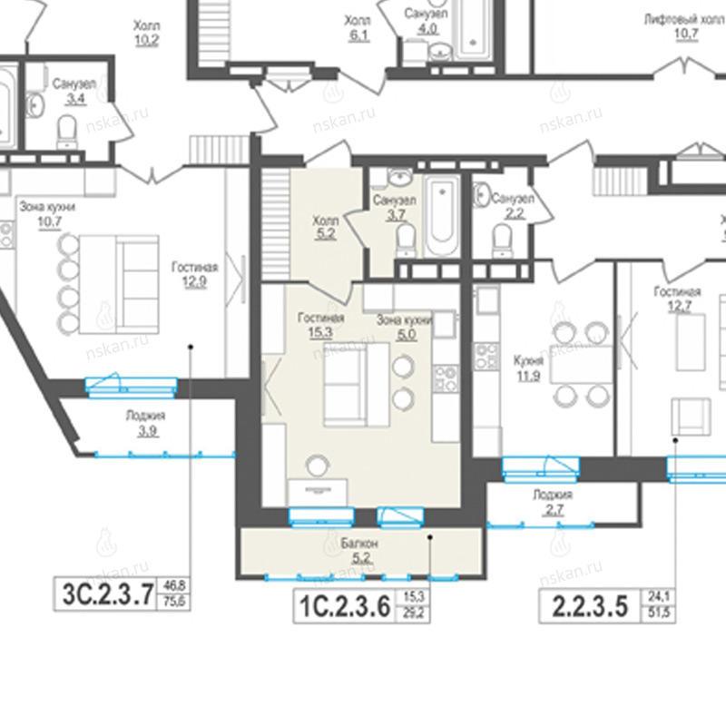Планировка 1-комн. студия площадью 29.2 м<sup>2</sup> в ЖК Пифагор