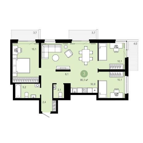 Вариант №4072, 4-комнатная квартира в жилом комплексе Оазис