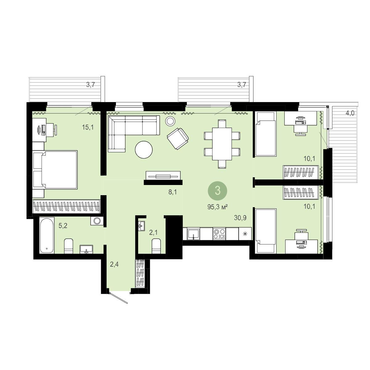 Планировка 4-комнатная площадью 95.3 м<sup>2</sup> в ЖК Европейский Берег