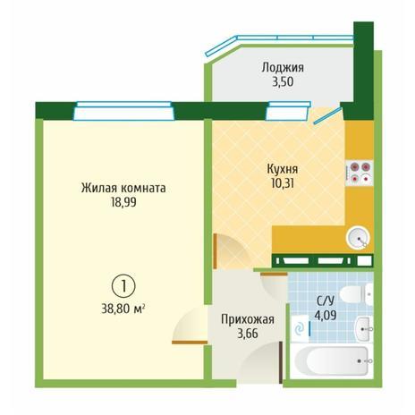 Вариант №6097, 1-комнатная квартира в жилом комплексе