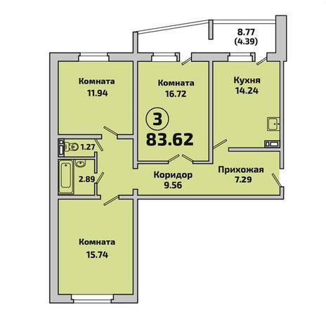 Вариант №2854, 3-комнатная квартира в жилом комплексе Родники