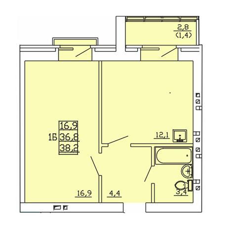 Вариант №4001, 1-комнатная квартира в жилом комплексе