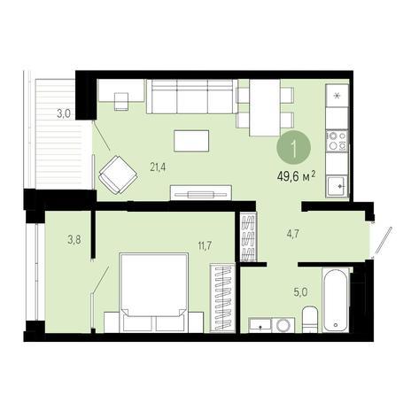Вариант №4848, 2-комнатная квартира в жилом комплексе Пшеница