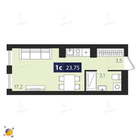 Вариант №1878, 1-комнатная квартира в жилом комплексе Европейский Берег
