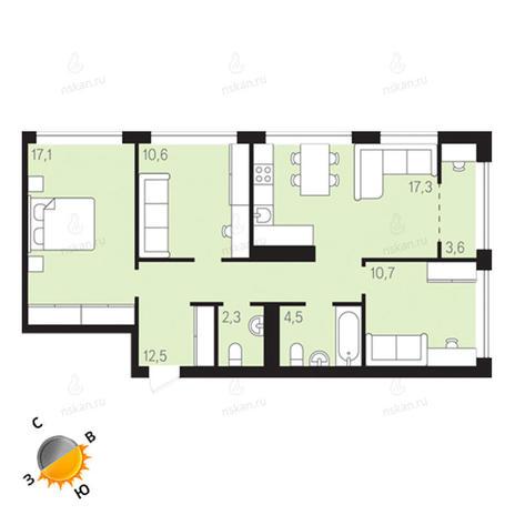 Вариант №1294, 4-комнатная квартира в жилом комплексе Европейский Берег