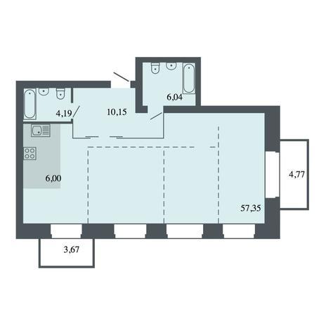 Вариант №4481, 4-комнатная квартира в жилом комплексе Шесть звезд