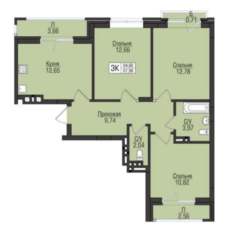 Вариант №5078, 3-комнатная квартира в жилом комплексе