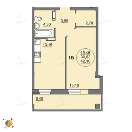 Вариант №2454, 1-комнатная квартира в жилом комплексе Лето
