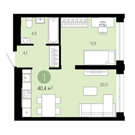 Вариант №4805, 2-комнатная квартира в жилом комплексе Европейский Берег