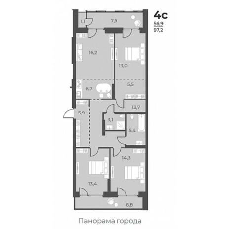 Вариант №5811, 4-комнатная квартира в жилом комплексе