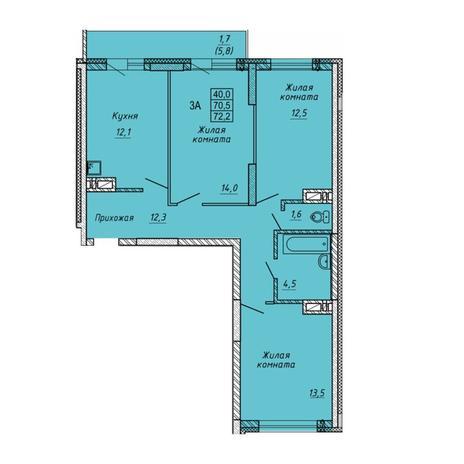 Вариант №5651, 3-комнатная квартира в жилом комплексе