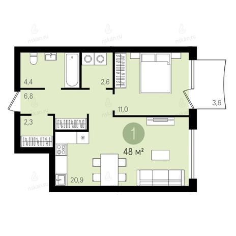 Вариант №2593, 2-комнатная квартира в жилом комплексе Квартал на Никитина