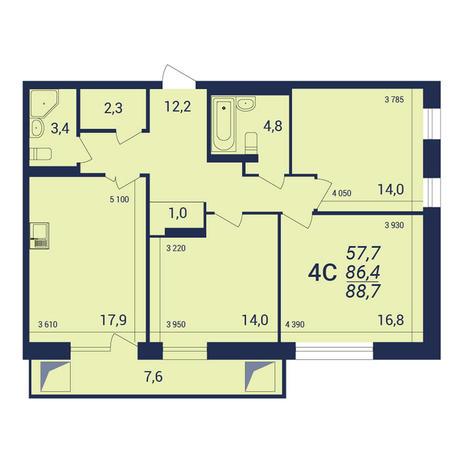 Вариант №3928, 4-комнатная квартира в жилом комплексе NOVA-дом