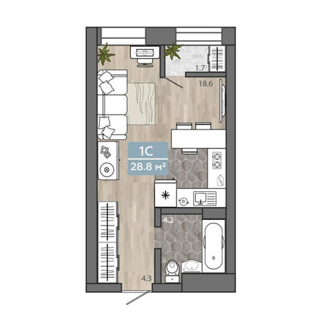 Вариант №3104, 1-комнатная квартира в жилом комплексе