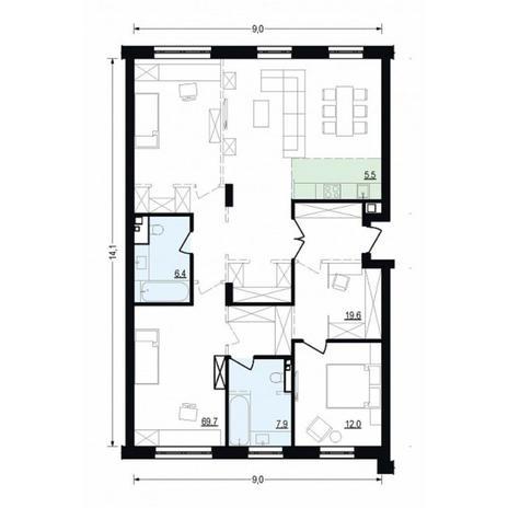 Вариант №4907, 4-комнатная квартира в жилом комплексе Жуковка