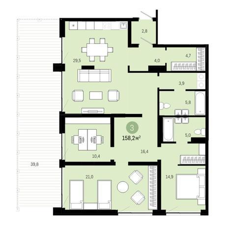 Вариант №6382, 4-комнатная квартира в жилом комплексе