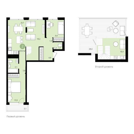 Вариант №4352, 3-комнатная квартира в жилом комплексе