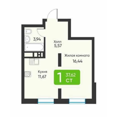 Вариант №5873, 1-комнатная квартира в жилом комплексе