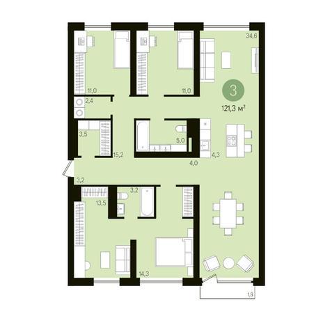 Вариант №3628, 4-комнатная квартира в жилом комплексе