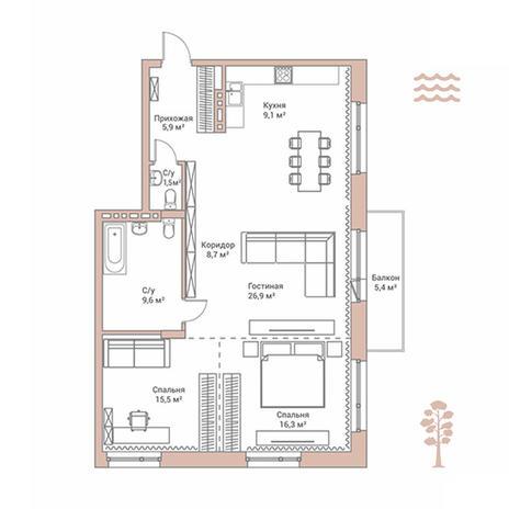 Вариант №2897, 4-комнатная квартира в жилом комплексе Flora & Fauna
