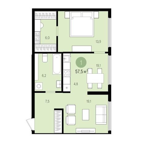 Вариант №5513, 2-комнатная квартира в жилом комплексе