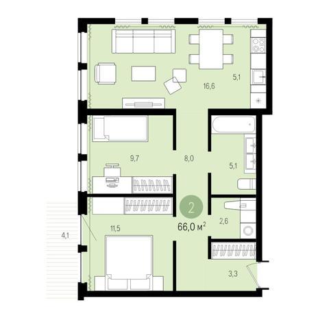 Вариант №4979, 3-комнатная квартира в жилом комплексе Пшеница