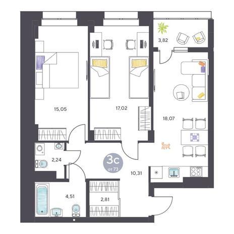 Вариант №5111, 3-комнатная квартира в жилом комплексе Пшеница