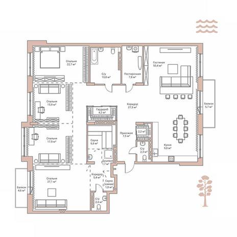 Вариант №2880, 4-комнатная квартира в жилом комплексе Flora & Fauna