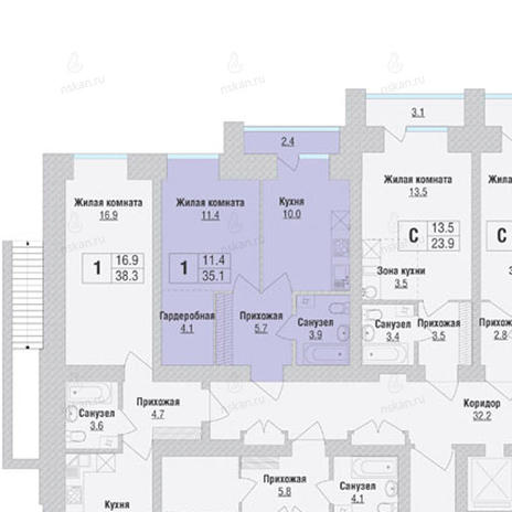 Вариант №1060, 1-комнатная квартира в жилом комплексе Солнечные часы