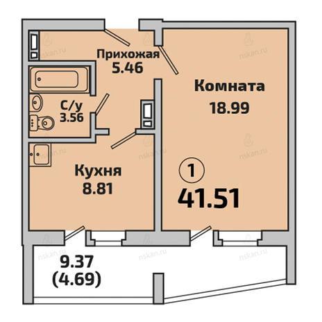 Вариант №2853, 1-комнатная квартира в жилом комплексе Чистая Слобода