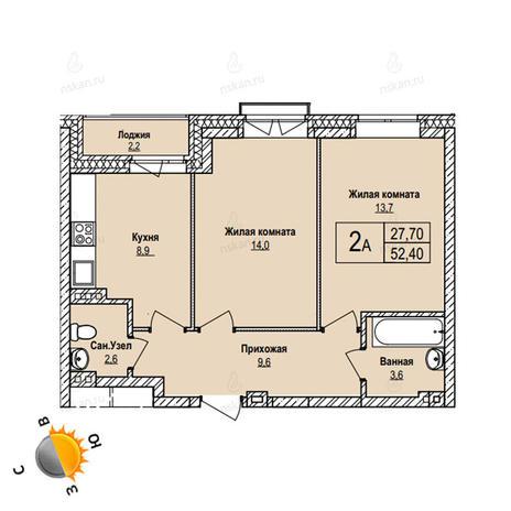 Вариант №1097, 2-комнатная квартира в жилом комплексе
