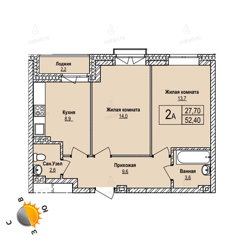 Планировка 2-комнатная площадью 52.4 м<sup>2</sup> в ЖК Эволюция