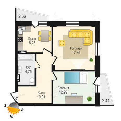 Вариант №1334, 2-комнатная квартира в жилом комплексе Крымский