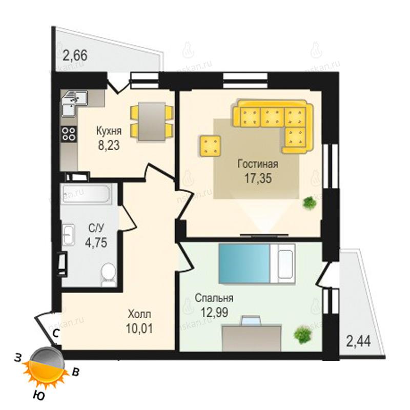 Планировка 2-комнатная площадью 53.33 м<sup>2</sup> в ЖК Крымский