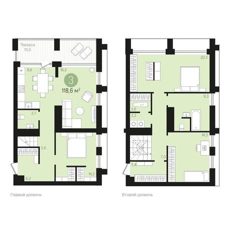 Вариант №4021, 4-комнатная квартира в жилом комплексе Европейский Берег