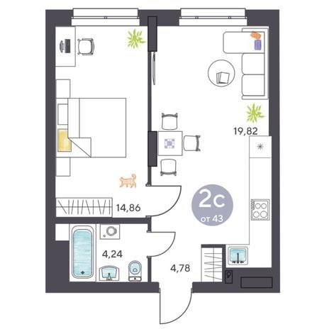 Вариант №5413, 2-комнатная квартира в жилом комплексе Ясный берег