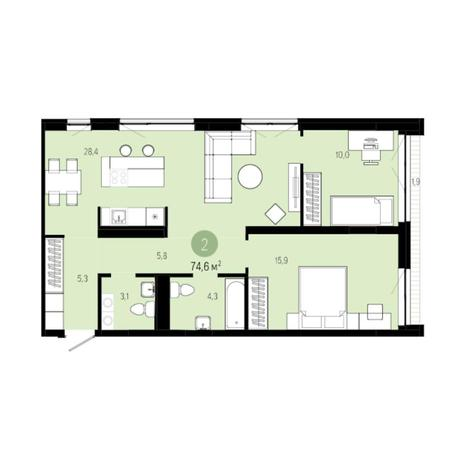 Вариант №6206, 3-комнатная квартира в жилом комплексе