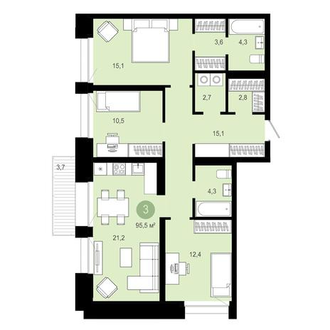 Вариант №4024, 4-комнатная квартира в жилом комплексе